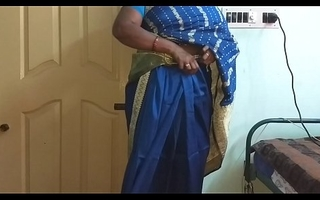 des indian horny cheating tamil telugu kannada malayalam hindi wife vanitha wearing blue colour saree  similar to one another big boobs and shaved pussy fluster hard boobs fluster nip rubbing pussy masturbation