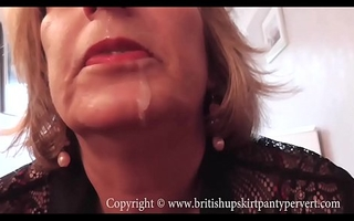 British Rosemary lets the Panty Pervert jism in their way mouth.